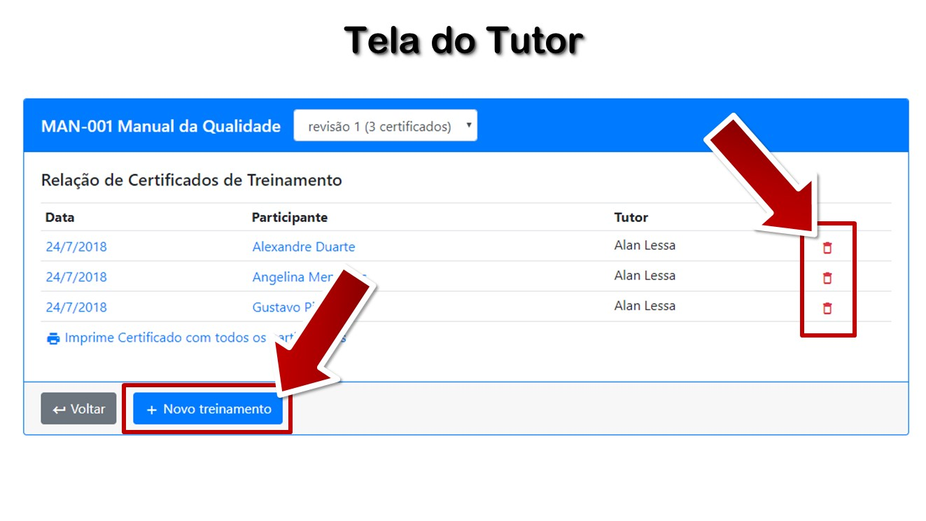 Tela do Tutor