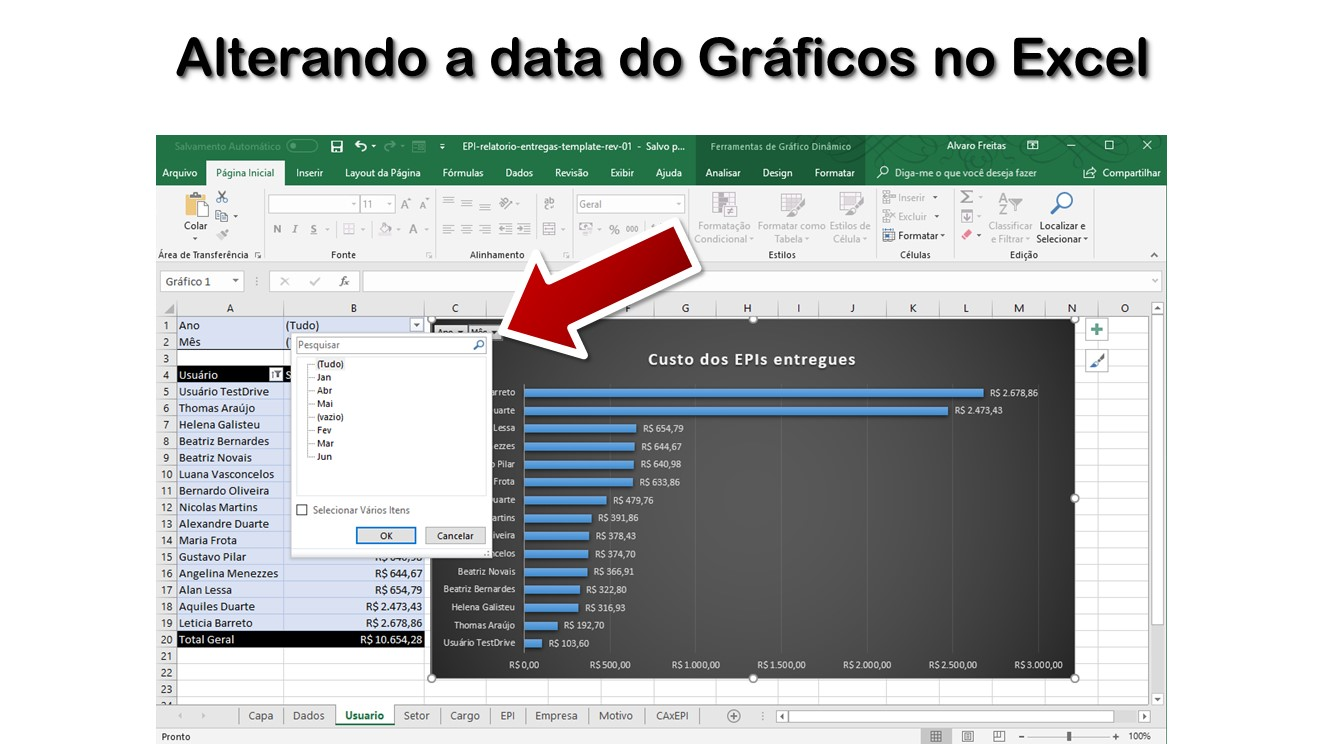 Alterando a data do Gráficos no Excel
