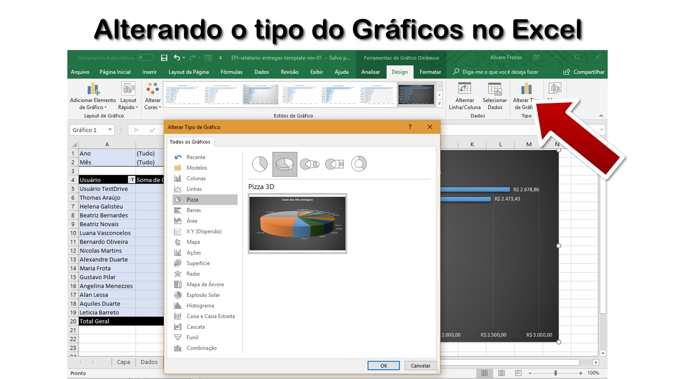 Alterando o tipo do Gráficos no Excel