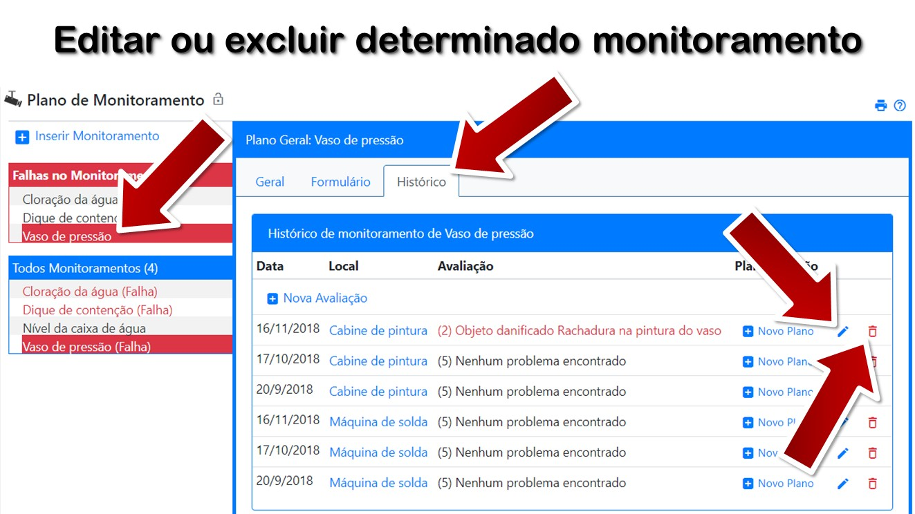 Editar ou excluir determinado monitoramento