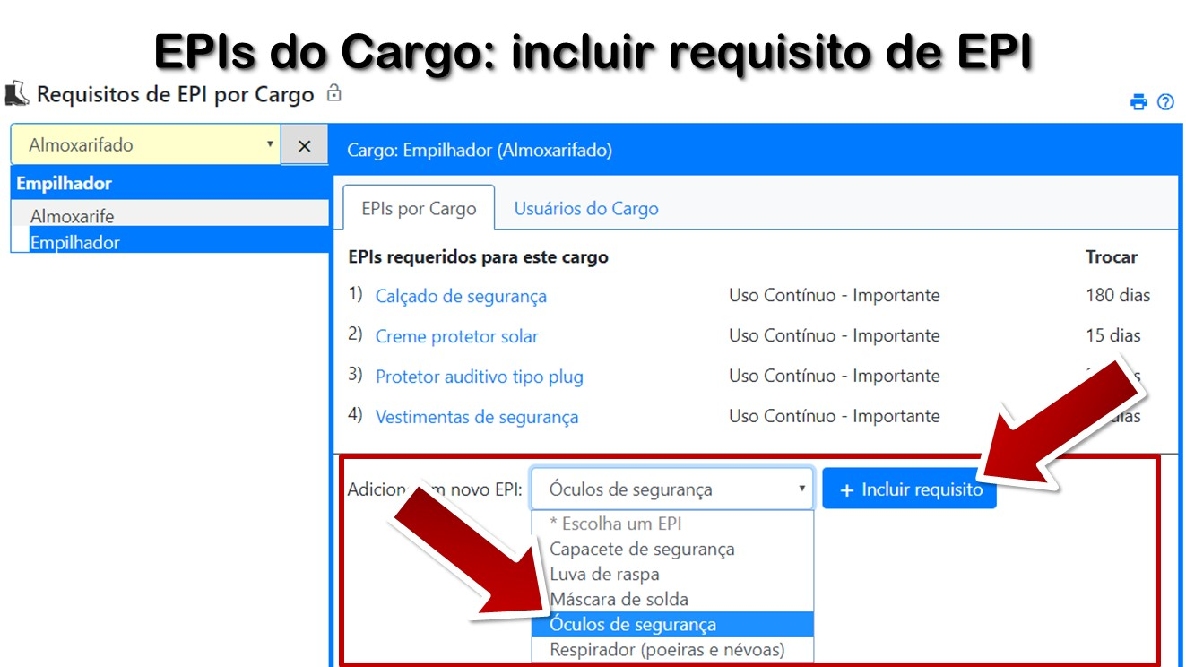 EPIs do Cargo: incluir requisito de EPI