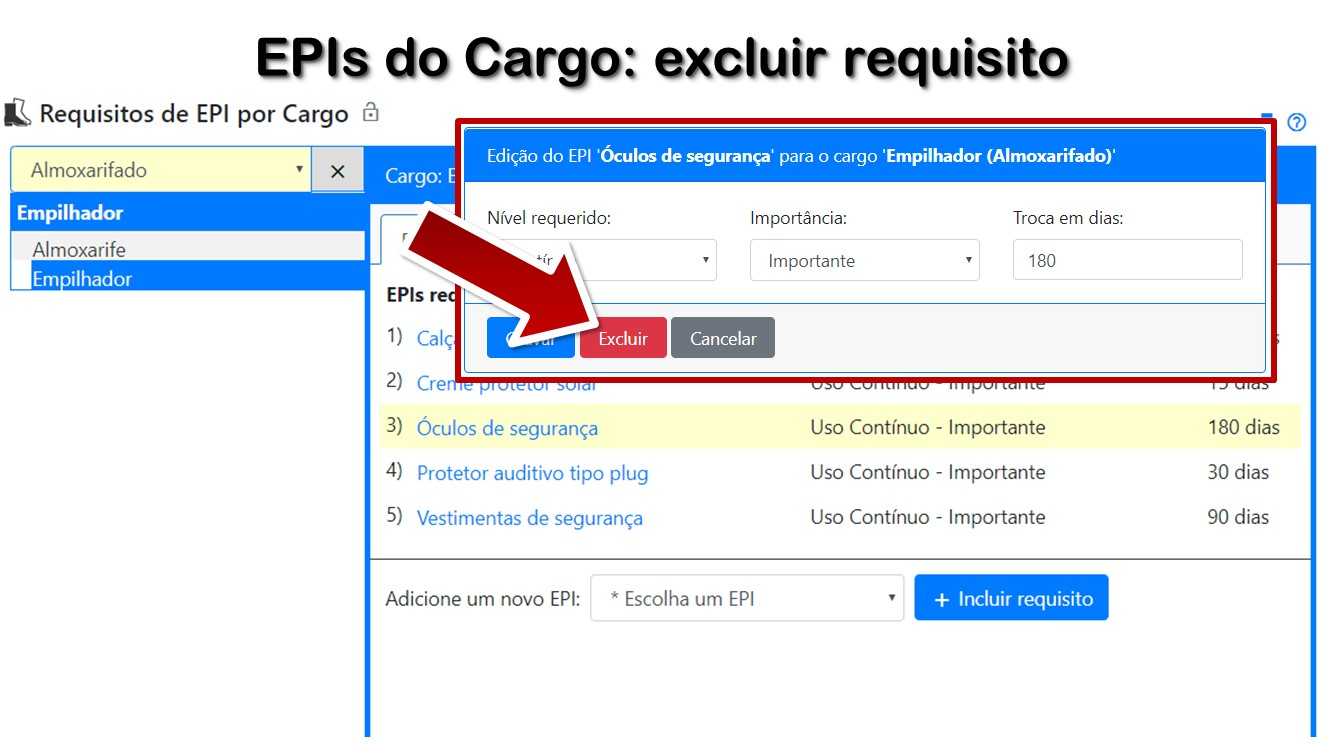EPIs do Cargo: excluir requisito